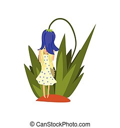 Cute little girl standing under the bell flower, fairy creature on beautiful natural landscape vector Illustration on a white background