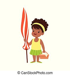 Cute little girl standing with beach umbrella and basket, kid playing at the beach, happy infants outdoor activity on summer vacations vector Illustration
