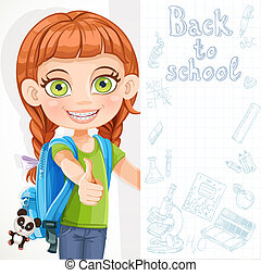 Cute little girl student