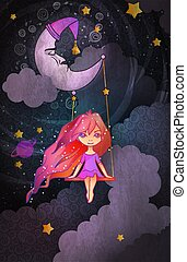 Cute little girl swinging on a crescent in front of night sky. Insomnia concept. Cartoon style vector illustration