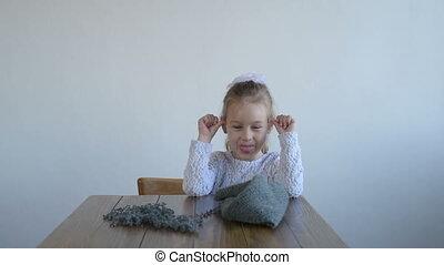 Cute little girl teasing - Cute 5-year-old little girl...
