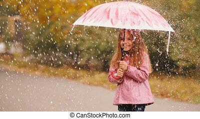 Cute Little Girl Under Rain