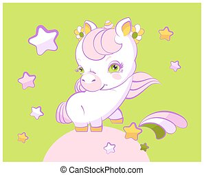 Cute little girl unicorn with pink hair