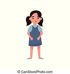 Cute little girl vector Illustration on a white background