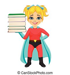 cute little girl wearing superhero costume holding stack of books