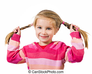 Cute little girl with a plaits on a white background close-...