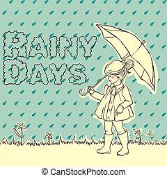 Cute little girl with an umbrella