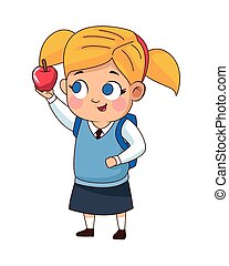 cute little girl with apple avatar character