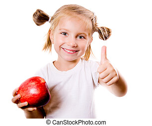 cute little girl with apple