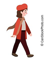 cute little girl with autumn clothes