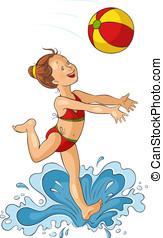 Cute little girl with beach ball