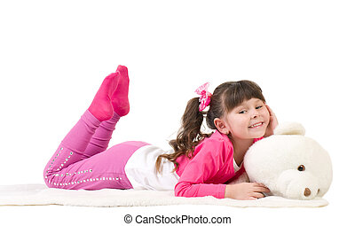 Cute little girl with  bear