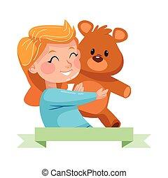 cute little girl with bear teddy character