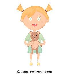 cute little girl with bear teddy