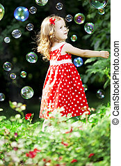 Cute little girl with bubbles - The image of a cute little ...
