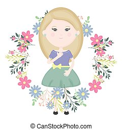 cute little girl with floral wreath character