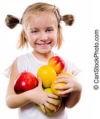 cute little girl with fruits
