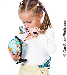 Cute little girl with globe