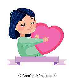 cute little girl with heart character
