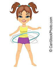 Cute little girl with her hula hoop