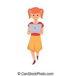 Cute little girl with her laptop, flat vector illustration isolated on white.