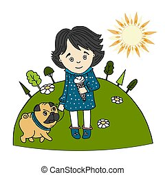 Cute little girl with ice cream in her hand and a dog pug on the lawn in summer, Sunny day, cartoon style