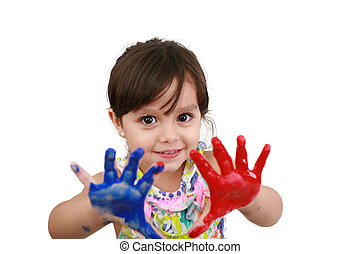 Cute little girl with painted hands. Isolated on white background.