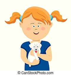 Cute little girl with pigtails holding a white puppy