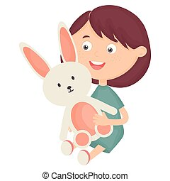 cute little girl with rabbit stuffed
