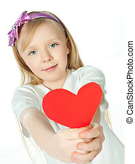 cute little girl with red heart