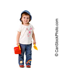 Cute little girl with shovel
