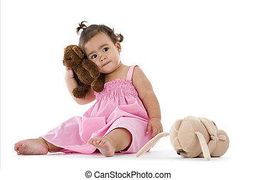 cute little girl with teddy