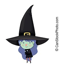cute little girl with witch costume