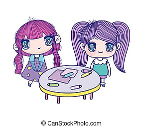 cute little girls cartoon with table and crayons