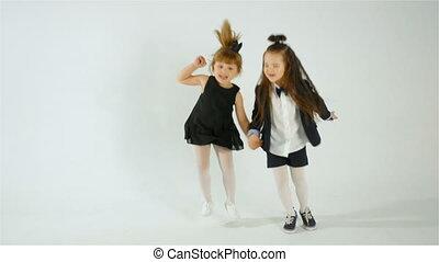Cute Little Girls Dancing And Having Fun, Isolated On White...