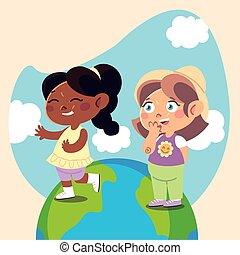 cute little girls standing on planet cartoon, children