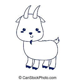 cute little goat animal cartoon isolated icon design line style