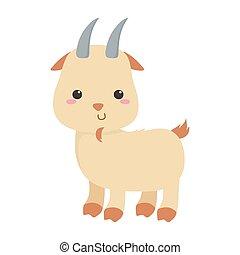 cute little goat animal cartoon isolated icon design