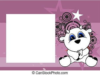 cute little goat cartoon frame