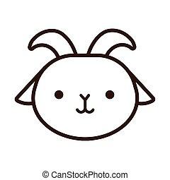 cute little goat kawaii animal line style