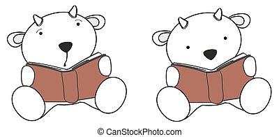 cute little goat reading cartoon s