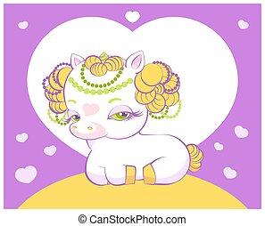 Cute little golden hair princess unicorn