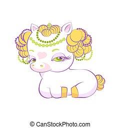 Cute little golden hair princess white unicorn