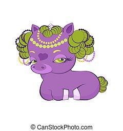 Cute little golden hair violet princess unicorn