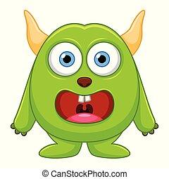 Cute little green cartoon monster on white background