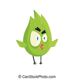 Cute little green funny angry chick bird standing colorful character vector Illustration