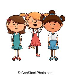 cute little group kids characters