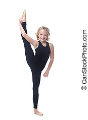 Cute little gymnast posing in vertical split, isolated on white