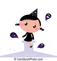 Cute little Halloween Witch with Ghosts isolated on white
