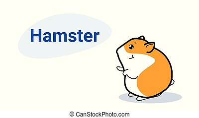 cute little hamster cartoon comic character with smiling face kawaii hand drawn style funny animals for kids concept horizontal